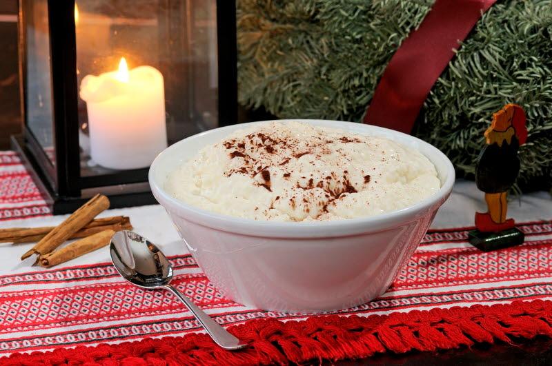Christmas porridge at a Christmas dinner