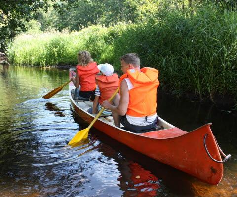 En familj som paddlar kanot på ån Tidan.