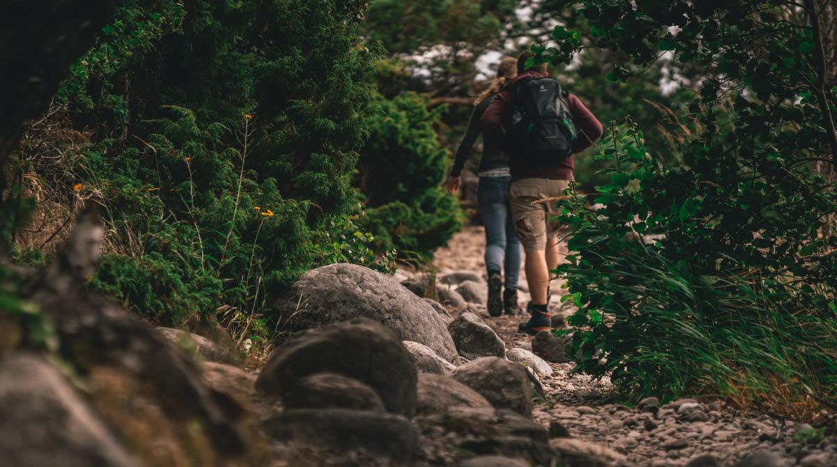 Lummig stenbrant man ser ryggen på två vandrare.