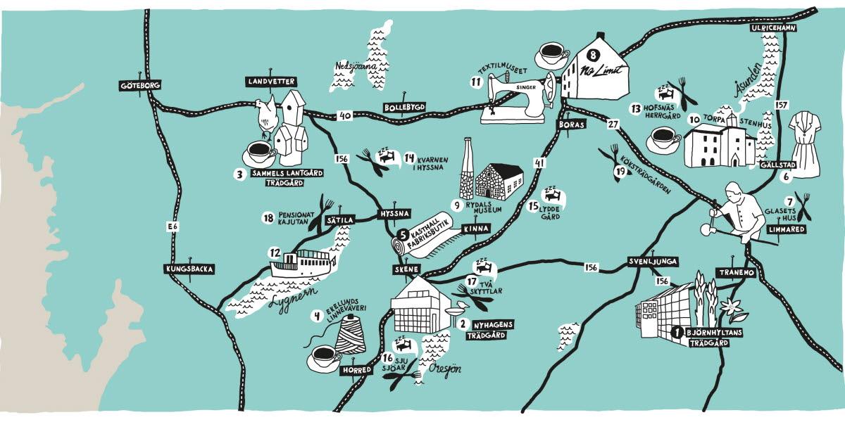Karta över Boråstrakten
