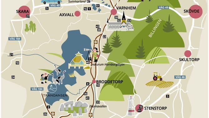 illustrerad karta över Hornborgasjön