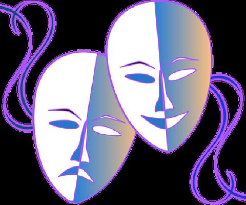 Illustration av två teatermasker.