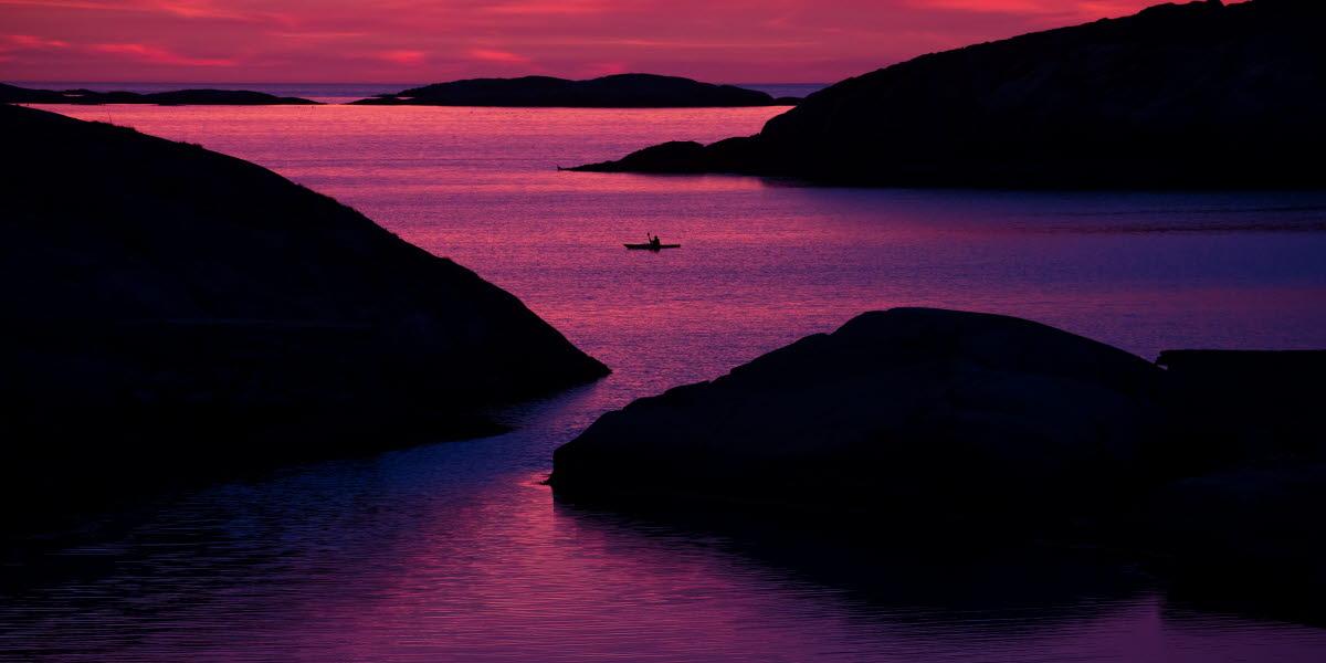 kajak i solnedgång
