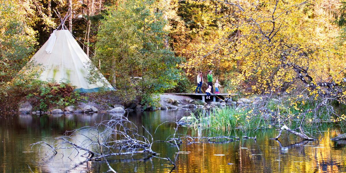 Teepee at a lake