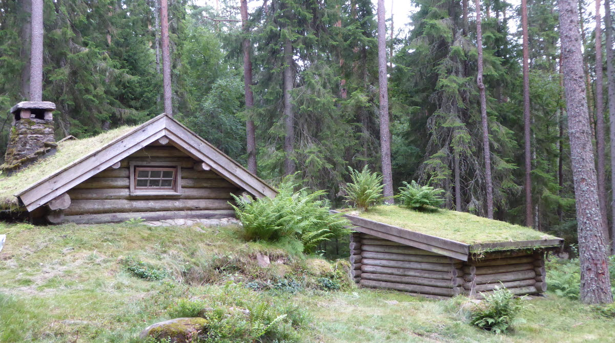 Gammal gräsbevuxen jordkula/stuga i naturen