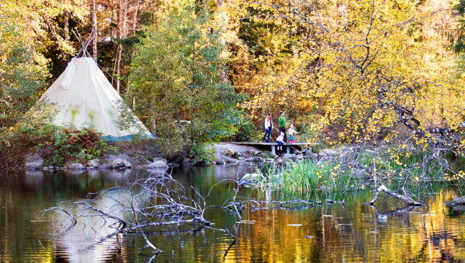 Teepee at a lake