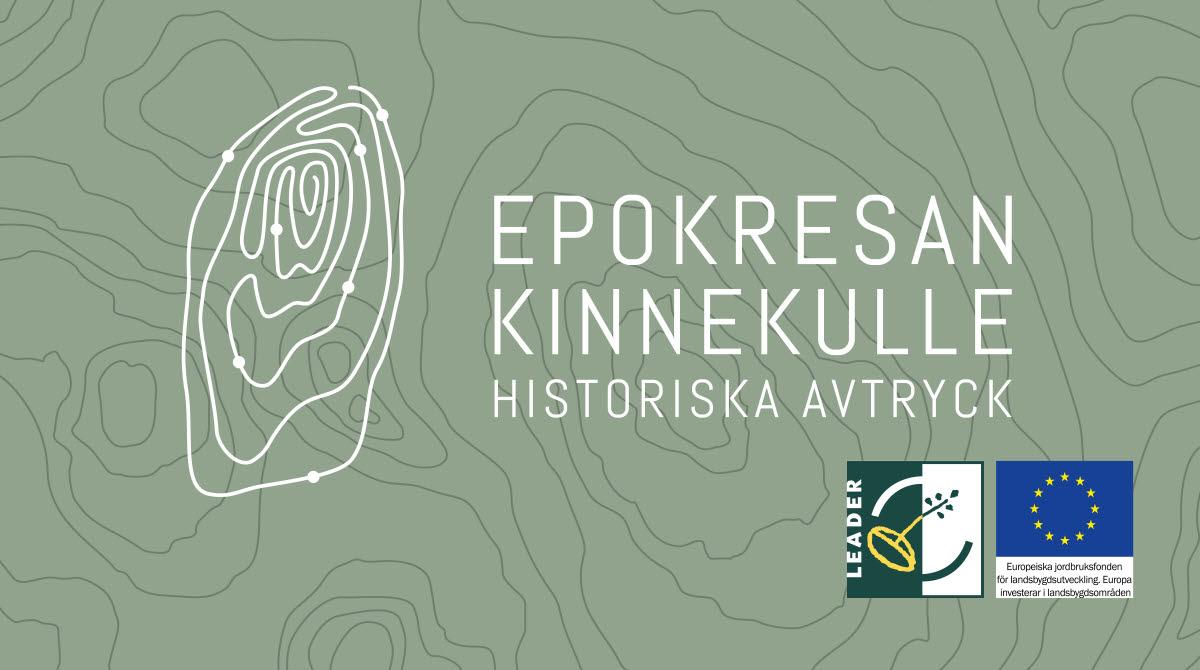 En grön bakgrund med tre loggor, Epok resa, Leader projekt och Eu-flagga.