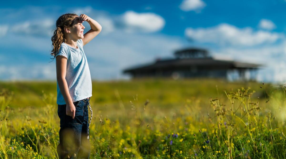 Flicka står på ett rapsfält med solen i ögonen och blickar ut över vidderna kring Hornborgasjön. I bakgrunden ser man Naturum Hornborga.
