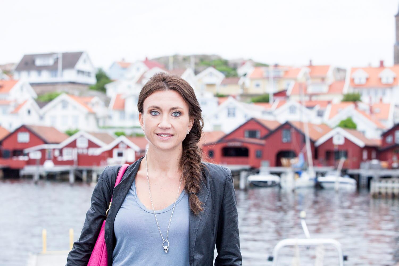 Camilla Läckberg in front of Fjällbacka - Photo Cred Åsa Dahlgren