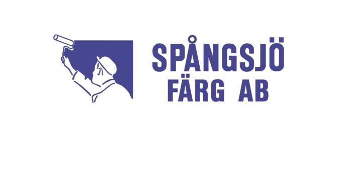 Logga för Spångsjö  Färg AB. Blå text på vit botten.