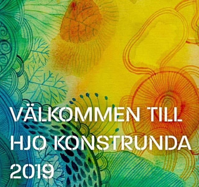 Konstnärlig målning som hänvisar till anmälan av årets konstrunda i Hjo 2019.