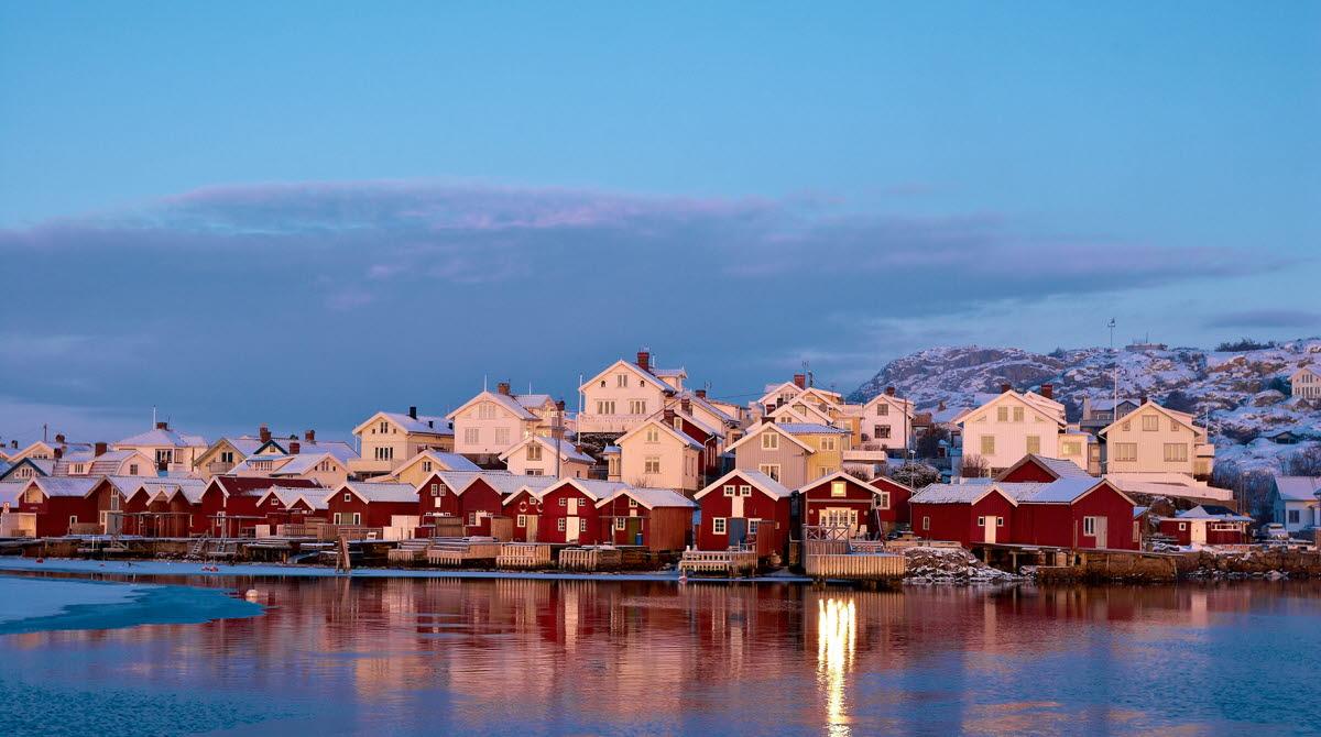 Fishing village during winter