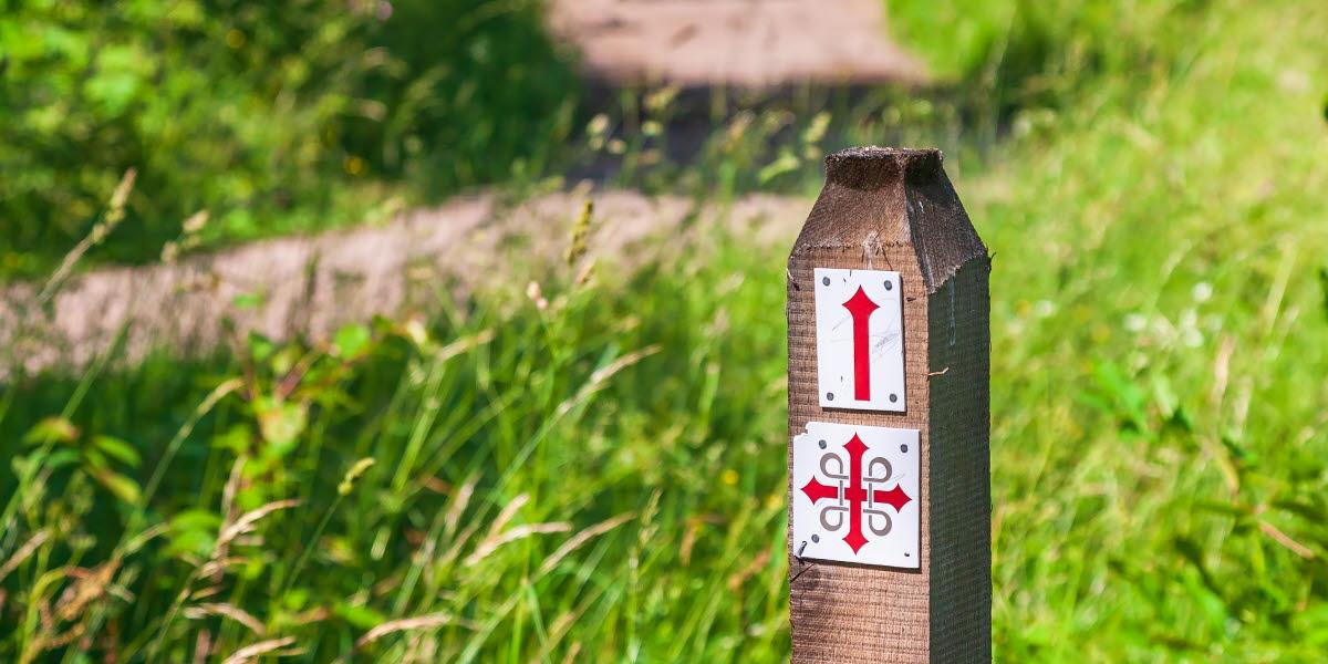 Pilgrimsmärke på en ekstolpe ute i naturen.