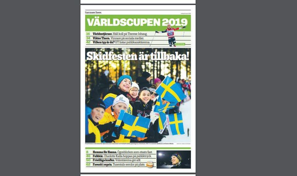Framsidan av skidbilagan i Ulricehamns Tidning.