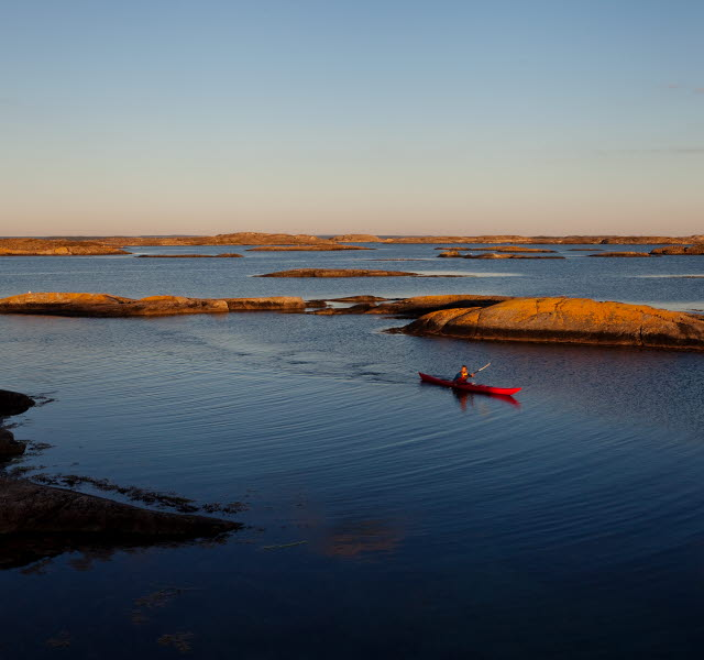 A red kayak is paddeling next to an island at dusk.